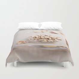 open pistachio nuts in shell Duvet Cover