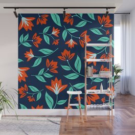 Japanese Floral Print - Red and Navy Blue Wall Mural
