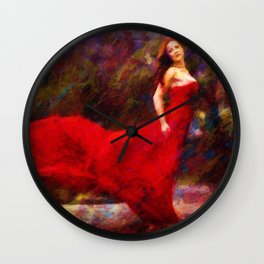 Artistic Woman In Red Dress Painting Impressionism Wall Clock