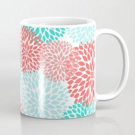 Coral Teal Dahlia Bouquet Coffee Mug