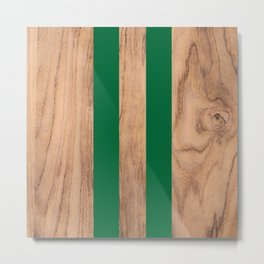 Wood Grain Stripes Green #319 Metal Print
