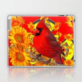 RED CARDINAL YELLOW SUNFLOWERS RED ART Laptop & iPad Skin