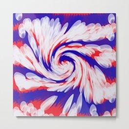USA Red White Blue swirl  Metal Print