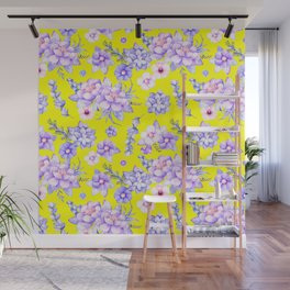 Modern elegant yellow lavender lilac pink watercolor floral Wall Mural