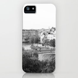Paris in Black and White, Notre Dame and Les Iles iPhone Case