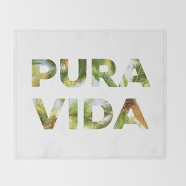 Pura Vida Costa Rica Palm Trees Throw Blanket