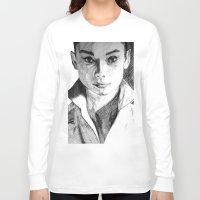 audrey hepburn Long Sleeve T-shirts featuring Audrey Hepburn by DeMoose_Art