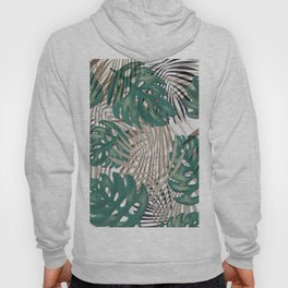 Tropical Leaves Nature Print Palm Fronds Hoody