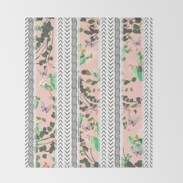 Pattern flowers and cactus Throw Blanket