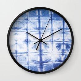 Shibori Tie Dye: Blue Clips Wall Clock