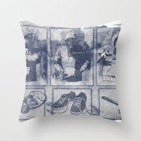 blueprint Throw Pillows featuring Vigilante Blueprint by Matthew Dunn