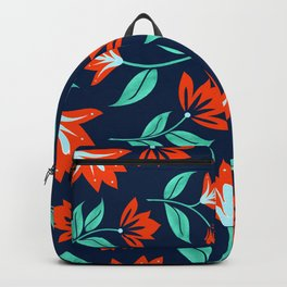 Japanese Floral Print - Red and Navy Blue Backpack
