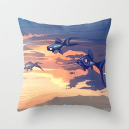 Sky Fishes Throw Pillow