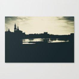 Silhouette des Dresdener Elbufers Canvas Print
