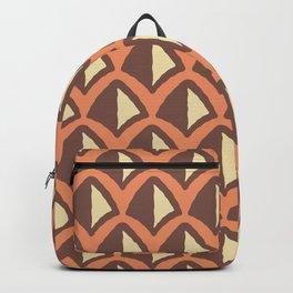 Classic Hollywood Regency Pyramid Pattern 224 Orange Beige and Brown Backpack