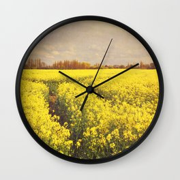 Yellow Field. Wall Clock