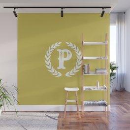 Mustard Yellow Monogram: Letter P Wall Mural