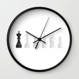 All white one black chess pieces Wall Clock