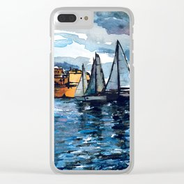 Yacht Sailing Middle Sea Race in Malta Grand Harbour - start of the regatta Clear iPhone Case
