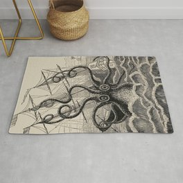 """The octopus; or, The """"Devil-fish"""" - Henry Lee - 1875 Giant Octopus Sinking Ship Rug"""