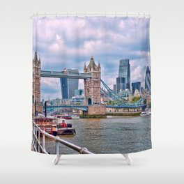 London Tower Bridge Blue Shower Curtain