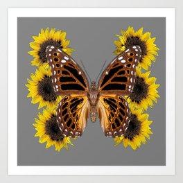 BROWN BUTTERFLY & YELLOW SUNFLOWERS Art Print