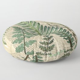 Book Art Page Botanical Leaves Floor Pillow