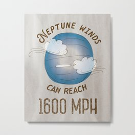 Neptune Winds - Solar System Series of Posters Metal Print