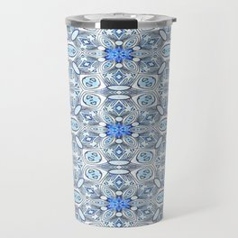 Blue White and Grey Structured Floral Geometric Travel Mug