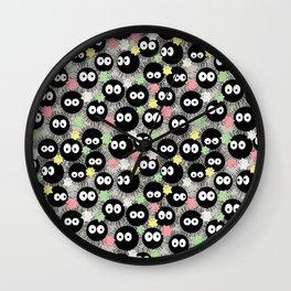 Kawaii Soot Sprites with Star Candies Wall Clock