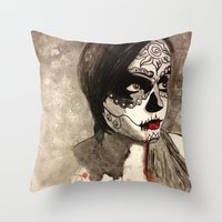 sugar skull Throw Pillows featuring sugar skull  by Joedunnz