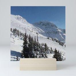 Mountains color palette of white-black-blue Mini Art Print