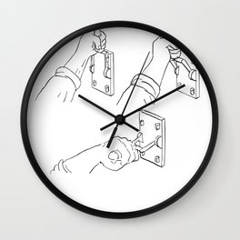 Hand Pulling Frankenstein Light Throw Switch Drawing Wall Clock