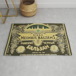 Vintage 1950 Rigas Melnais Balzams Wine Bottle Green Label Rug