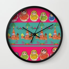 Russian Rainbow Matryoshka Wall Clock