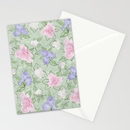 Flower Play Pink Lavender Green Antique Look Stationery Cards