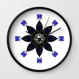 Black mandala on white Wall Clock