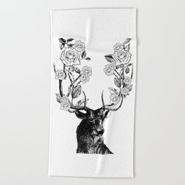 The Stag and Roses | Black and White Beach Towel