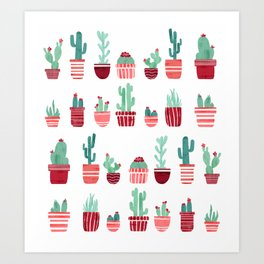 Pink Cacti Art Print