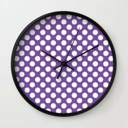 White Polka Dots with Purple Background Wall Clock