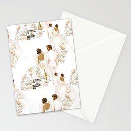 Wedding Couple Bride and Groom - Dark Skin Option Stationery Cards