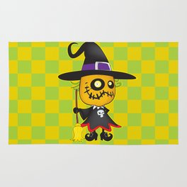Halloween pumpkin witch Rug