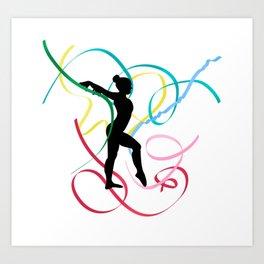 Ribbon dancer on white Art Print