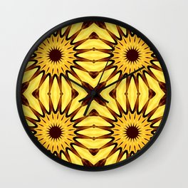 Sunflowers Yellow & Brown Pinwheel Flowers Wall Clock