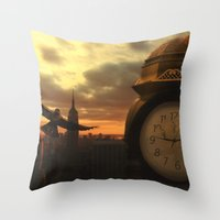 clockwork Throw Pillows featuring Clockwork by Chase Matheson