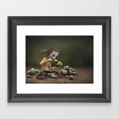 Rock Painting (Self Portrait) Framed Art Print