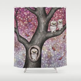 enchanted owls, moths, stars Shower Curtain