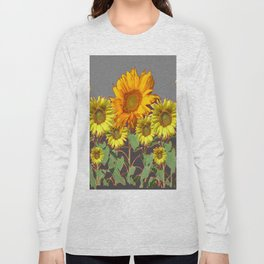 SUNFLOWER FIELD in CHARCOAL GREYS Long Sleeve T-shirt