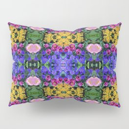 Floral Spectacular: Blue, Plum, Gold - square repeating pattern, Olbrich Botanical Gardens, Madison Pillow Sham