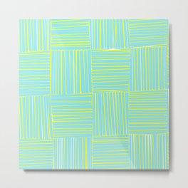 Blue & Yellow Criss Cross Metal Print